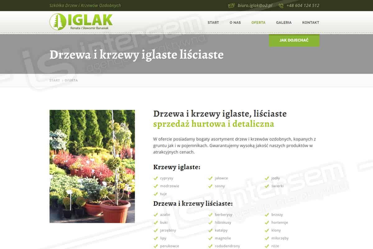 Responsywna strona internetowa - IGLAK - Szkółka drzew i krzewów
