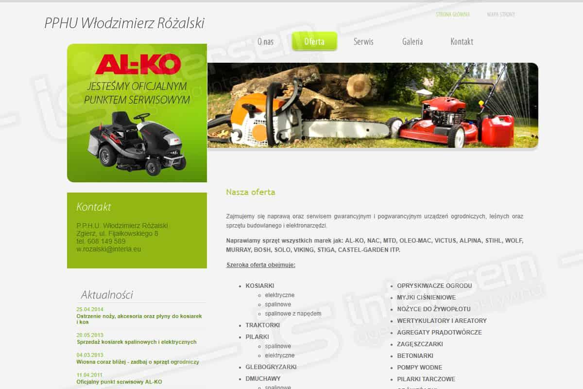 Strona internetowa - Kosiarki Naprawa Serwis Sprzedaż - Zgierz