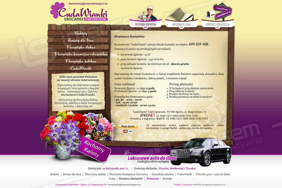Strona internetowa - CudaWianki - Kwiaciarnia w Zgierzu - Oferta