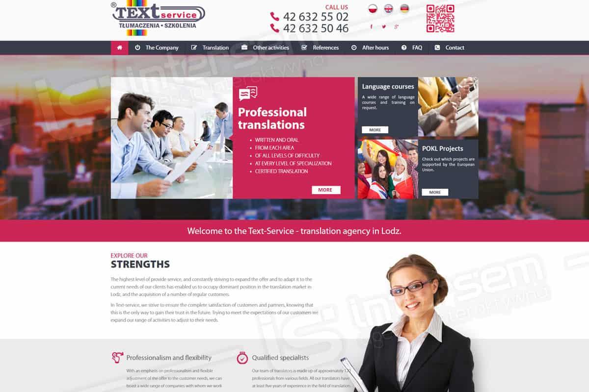 Responsywna strona internetowa - Text Service - Wersja angielska