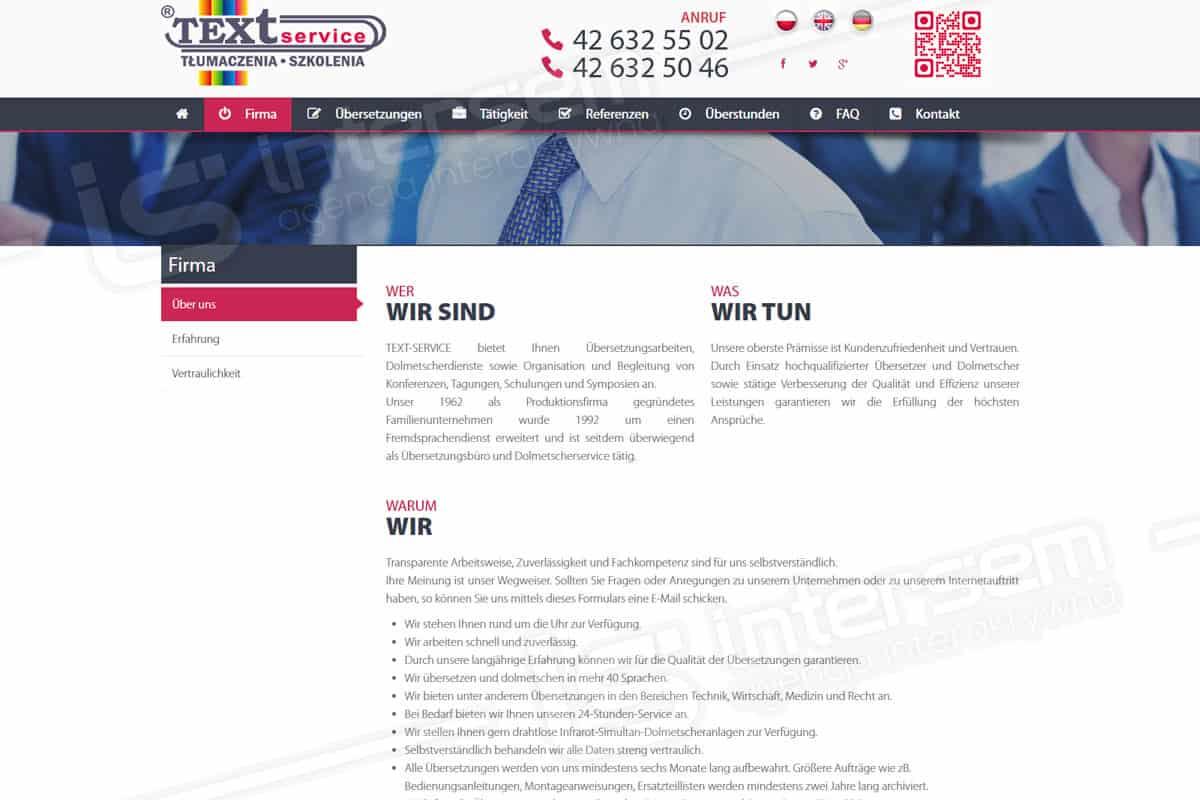 Responsywna strona internetowa - Text Service - Wersja niemiecka